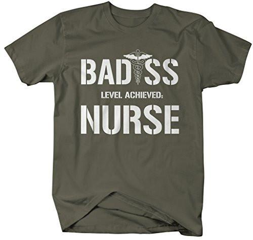 Shirts By Sarah Men's Funny Nurse T-Shirt Bad*ss Level Achieved Hilarious Shirt For Nurses-Shirts By Sarah