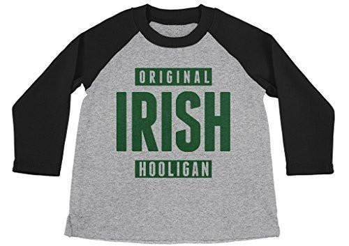 Shirts By Sarah Boy's Funny St. Patrick's Day Shirt Original Irish Hooligan 3/4 Sleeve Raglan Shirts-Shirts By Sarah
