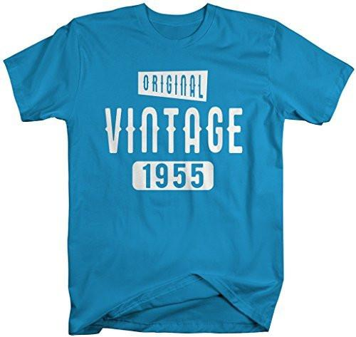 Shirts By Sarah Men's Original Vintage Birthday Year Shirts Made In 1955 T-Shirt-Shirts By Sarah