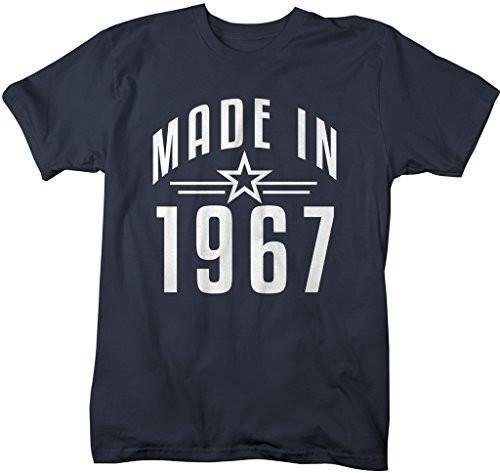 Shirts By Sarah Men's Made In 1967 Birthday T-Shirt Retro Star Custom Shirts-Shirts By Sarah