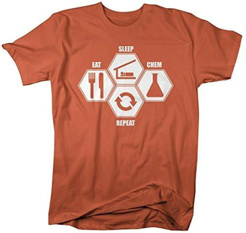 Shirts By Sarah Men's Eat Sleep Chem Repeat Chemistry T-Shirts College Major Shirts-Shirts By Sarah