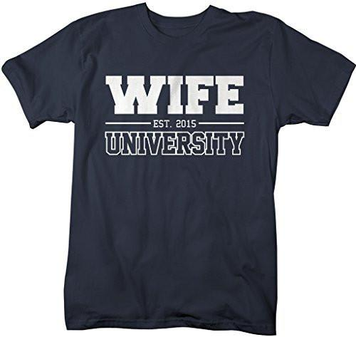 Shirts By Sarah Women's Unisex Wife University Est. 2015 T-Shirt Wedding Anniversary Shirts-Shirts By Sarah