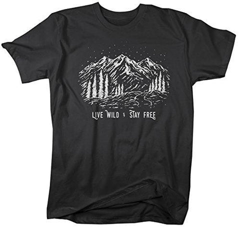 Men's Hipster T-Shirt Live Wild Stay Free Mountains Camping Tee-Shirts By Sarah