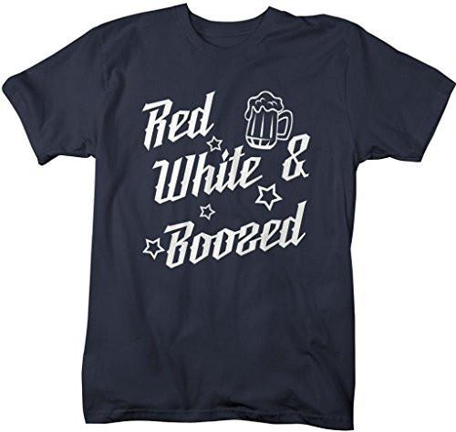 Shirts By Sarah Men's Patriotic 4th July T-Shirt Red White Boozed Drinking Shirts-Shirts By Sarah