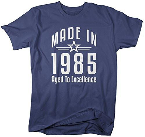 Shirts By Sarah Men's Made In 1985 Birthday T-Shirt Aged To Excellence Shirts-Shirts By Sarah