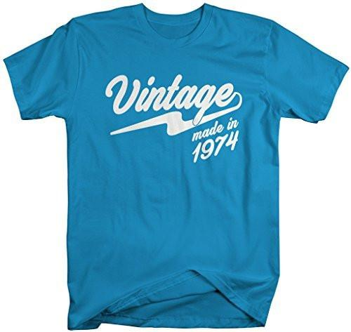 Shirts By Sarah Men's Vintage Made In 1974 T-Shirt Retro Birthday Shirts-Shirts By Sarah