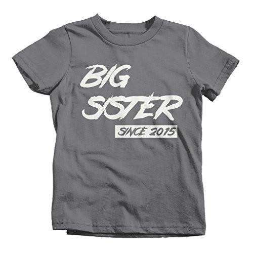 Shirts By Sarah Girl's Big Sister Since 2015 T-Shirt Sister Shirts-Shirts By Sarah