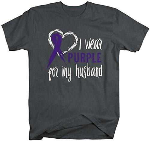 Shirts By Sarah Men's Purple Ribbon Shirt Wear For Husband T-Shirt Awareness Support Shirt-Shirts By Sarah