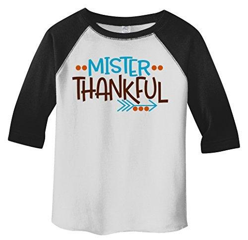 Shirts By Sarah Little Boy's Little Mister Thankful Thanksgiving Toddler Raglan-Shirts By Sarah