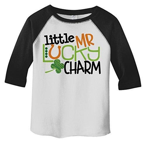 Shirts By Sarah Boy's Toddler Little Mr. Lucky Charm T-Shirt ST. Patrick's Day 3/4 Sleeve Raglan-Shirts By Sarah