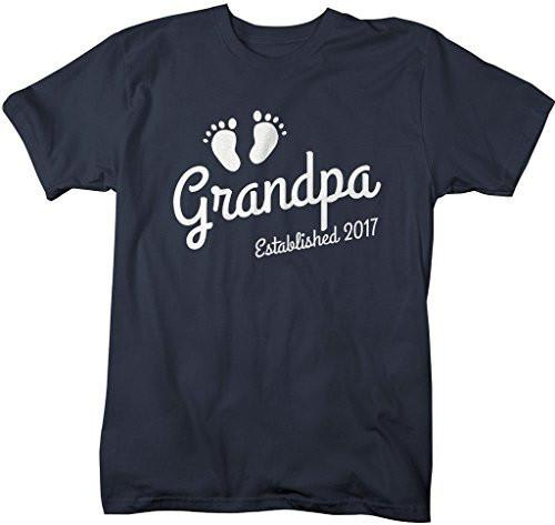 Shirts By Sarah Men's Grandpa Established 2017 T-Shirt Baby Feet Cute Shirts-Shirts By Sarah