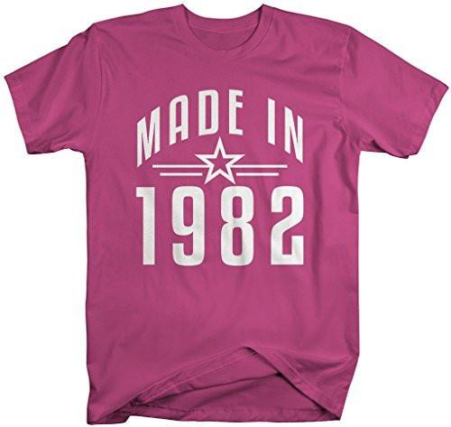 Shirts By Sarah Men's Made In 1982 Birthday T-Shirt Retro Star Custom Shirts-Shirts By Sarah