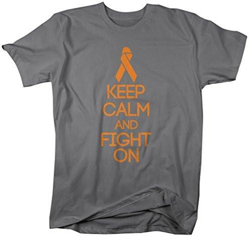 Shirts By Sarah Men's Mulitple Sclerosis Keep Calm Fight On T-Shirt-Shirts By Sarah