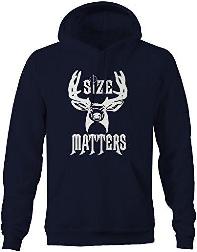 Shirts By Sarah Men's Funny Hunting Hoodie - Size Matters Deer Sweatshirts-Shirts By Sarah