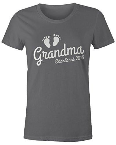 Shirts By Sarah Women's Grandma Established 2016 T-Shirt Baby Feet Cute Shirts-Shirts By Sarah
