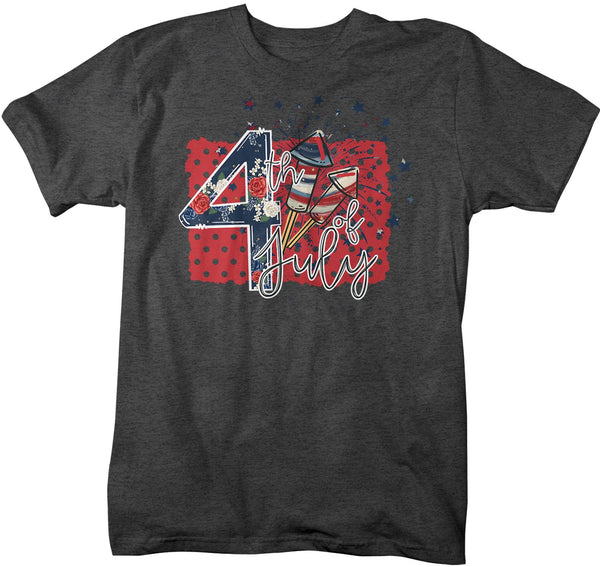 Men's 4th July T Shirt Firecracker Shirt Boho America Shirts Patriotic Shirt Fireworks Shirts-Shirts By Sarah