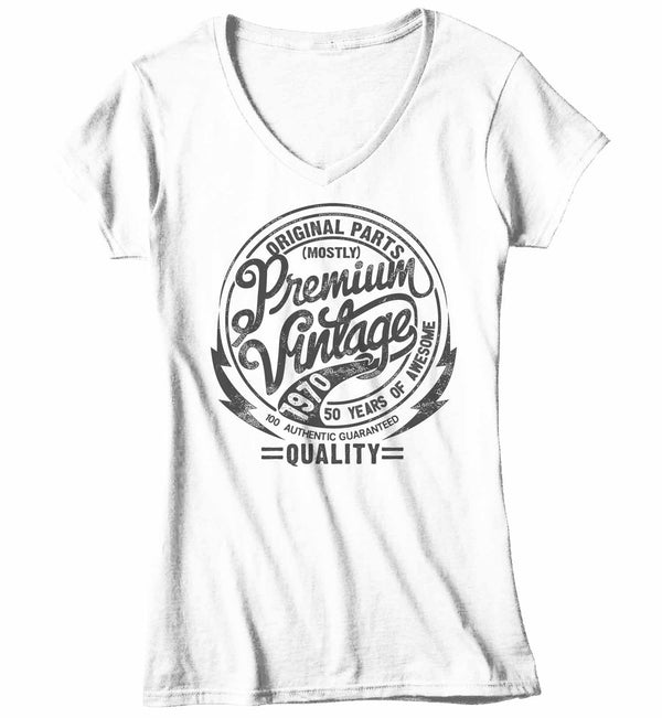Women's V-Neck Premium Vintage T Shirt 1970 Birthday Made In Shirt 50th Birthday Tee 50 Years Awesome Gift Idea Vintage Tee-Shirts By Sarah