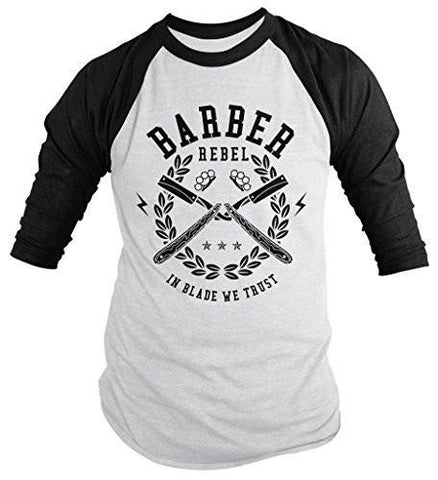 Shirts By Sarah Men's Barber Shirts In Blade We Trust 3/4 Sleeve Raglan-Shirts By Sarah