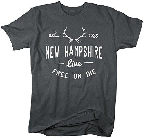 Shirts By Sarah Men's New Hampshire State Slogan Shirt Live Free Or Die T-Shirts Est. 1788-Shirts By Sarah