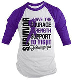 Shirts By Sarah Men's Fibromyalgia Survivor Shirt 3/4 Sleeve Raglan Shirts Purple Ribbon-Shirts By Sarah