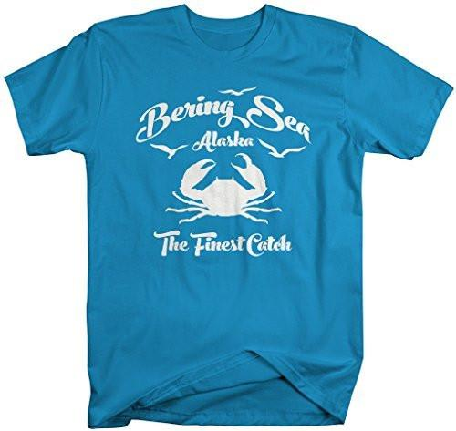 Shirts By Sarah Men's Bering Sea Fishing T-Shirt Crab Shirts Alaska Finest Catch-Shirts By Sarah