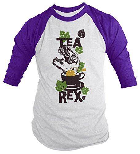 Shirts By Sarah Men's Funny Tea Rex Hipster Shirt Funny 3/4 Sleeve Raglan Shirts-Shirts By Sarah