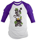 Shirts By Sarah Men's Funny Tea Rex Hipster Shirt Funny 3/4 Sleeve Raglan Shirts - Purple/white / XX-Large - 4