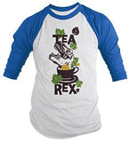 Shirts By Sarah Men's Funny Tea Rex Hipster Shirt Funny 3/4 Sleeve Raglan Shirts - Royal/White / XX-Large - 5