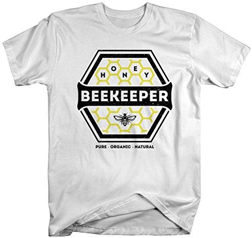 Shirts By Sarah Men's Beekeeper T-Shirt Honey Comb Shirt Pure Natural Organic Shirt-Shirts By Sarah