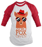 Shirts By Sarah Men's Funny Zero Fox Given 3/4 Sleeve Raglan Hipster Shirt - Red/White / XX-Large - 4