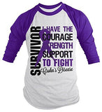 Shirts By Sarah Men's Crohn's Disease Survivor Shirt 3/4 Sleeve Raglan Shirts Purple Ribbon - Purple/white / XX-Large - 1