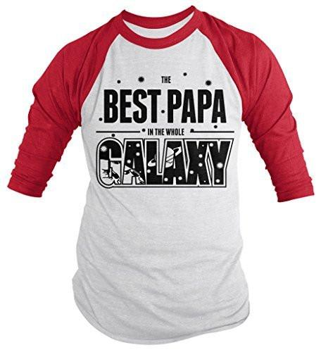 Shirts By Sarah Men's Funny Best Papa In Galaxy Shirt 3/4 Sleeve Raglan Father's Day Space-Shirts By Sarah