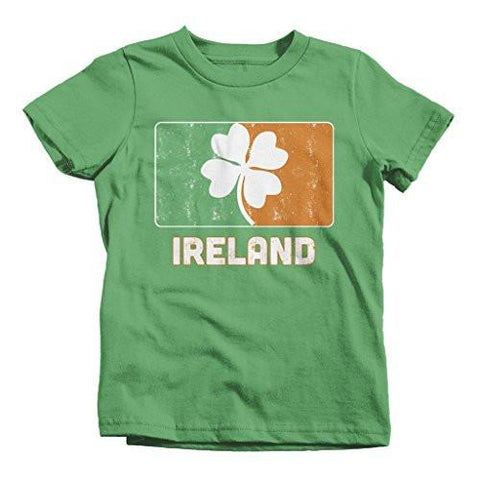 Shirts By Sarah Little Boy's Ireland Distressed T-Shirt Lucky Clover-Shirts By Sarah