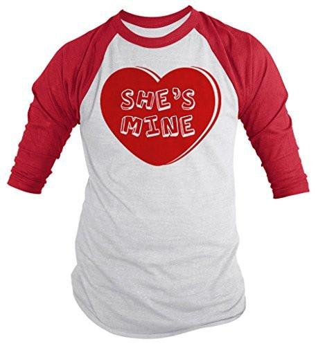 Shirts By Sarah Unisex Matching Valentine's Day Couples 3/4 Sleeve She's Mine Heart Shirts-Shirts By Sarah