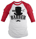Shirts By Sarah Men's Barber Shirt Top Hat Vintage Hipster Mustache 3/4 Sleeve Shirts-Shirts By Sarah
