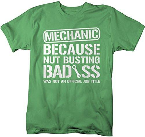 Shirts By Sarah Men's Unisex Funny Mechanic Shirt Bad*ss Nut Busting T-shirt-Shirts By Sarah
