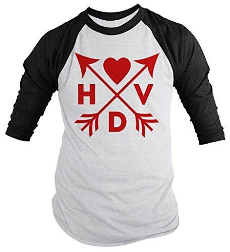 Shirts By Sarah Unisex Hipster HVD Valentine's Day Arrows Happy 3/4 Sleeve Raglan Shirts-Shirts By Sarah