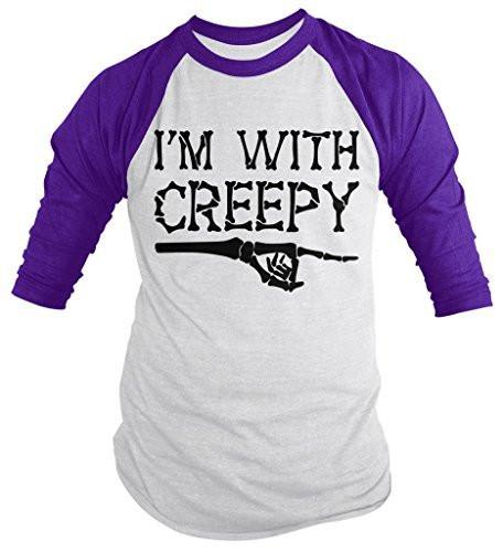 Shirts By Sarah Men's Halloween With Creepy 3/4 Sleeve Raglan Shirt-Shirts By Sarah