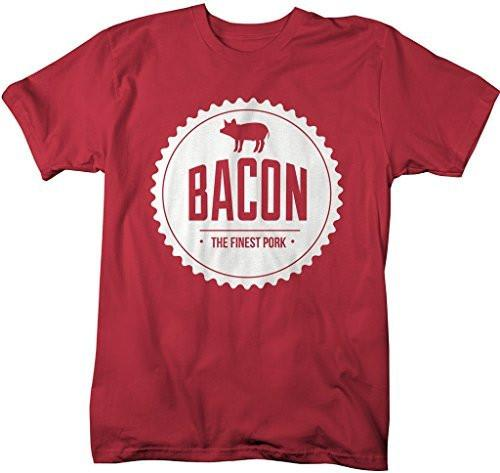 Shirts By Sarah Men's Funny Bacon Lover T-Shirt Pig Finest Pork-Shirts By Sarah