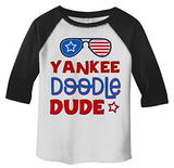 Shirts By Sarah Boy's Patriotic 4th July T-Shirt Yankee Doodle Dude 3/4 Sleeve Raglan-Shirts By Sarah