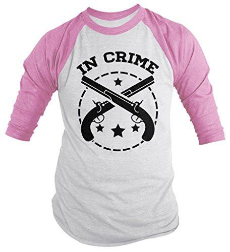 Shirts By Sarah Unisex Best Friends Partners In Crime Shirts - Crime 3/4 Sleeve Raglan-Shirts By Sarah