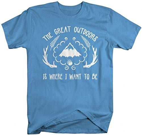 Shirts By Sarah Men's Hipster Great Outdoors T-Shirt Where I Want To Be Shirts-Shirts By Sarah