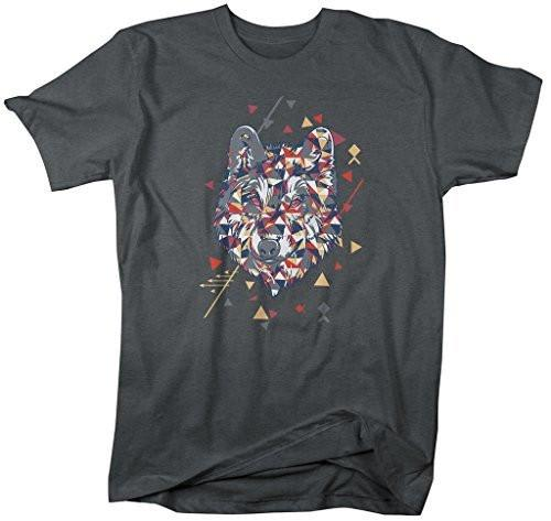 Shirts By Sarah Men's Hipster Geometric Wolf Graphic T-Shirt-Shirts By Sarah