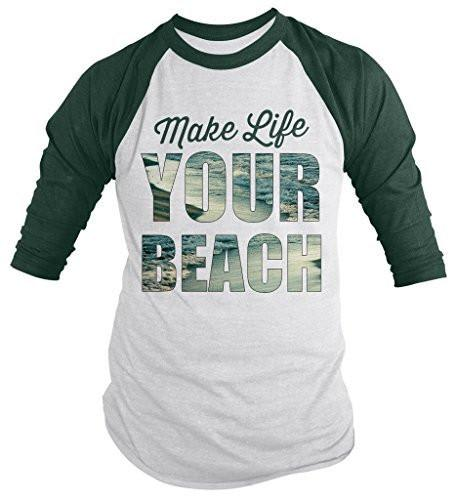 Shirts By Sarah Men's Hipster Tee Funny Make Life Your Beach 3/4 Sleeve Raglan Shirt-Shirts By Sarah