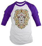 Shirts By Sarah Men's Lion Sugar Skull T-Shirt 3/4 Sleeve Hipster Shirts - Purple/white / XX-Large - 4