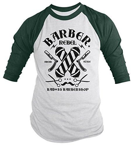 Shirts By Sarah Men's Barber Shirt Bad*ss Barber Shop ¾ Sleeve Raglan-Shirts By Sarah