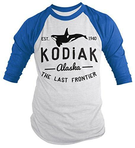 Shirts By Sarah Men's Kodiak Alaska Shirt Last Frontier Orca Whale 3/4 Sleeve Shirts-Shirts By Sarah