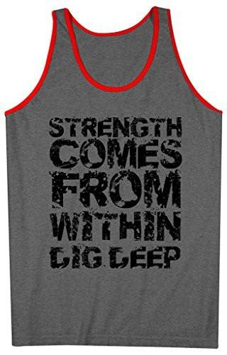 Shirts By Sarah Men's Workout Tank Top Strength From Within Tanks Saying Tops-Shirts By Sarah