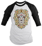 Shirts By Sarah Men's Lion Sugar Skull T-Shirt 3/4 Sleeve Hipster Shirts - Black/White / XX-Large - 2