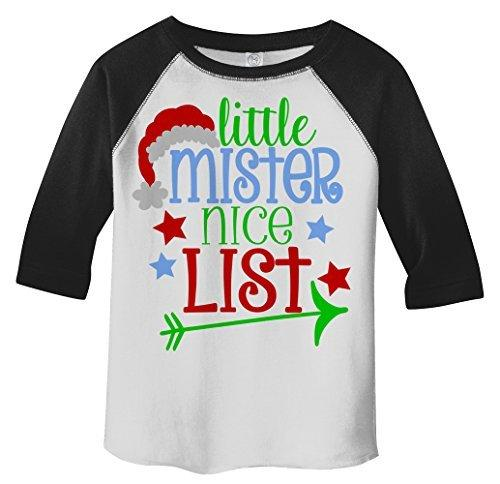 Shirts By Sarah Boy's Little Mister Nice List Funny Christmas 3/4 Sleeve Baseball Raglan Shirt-Shirts By Sarah